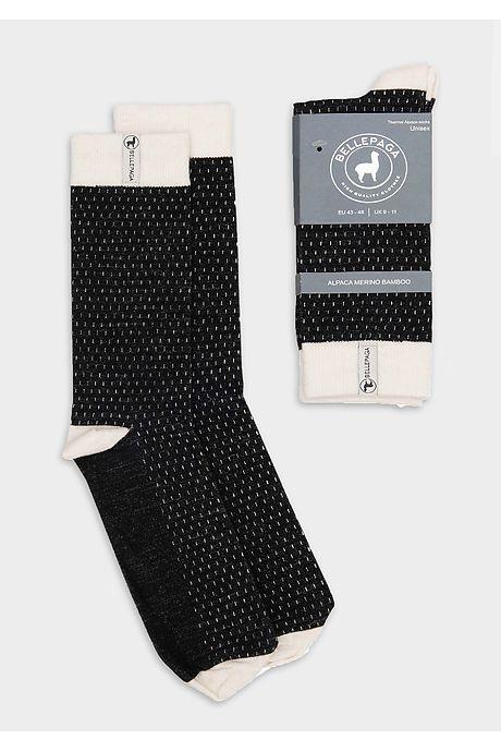 Schwarze/Weiße Wira Premium Alpaka Socken