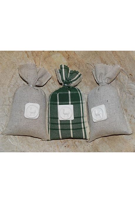 Trio of lavender bags green/linnen