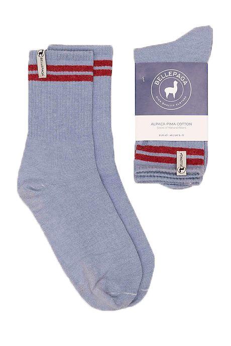 Grijze/Lichtblauwe Yaku Alpaca Sokken