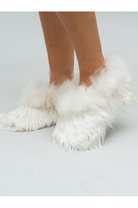 Pantoufles fourrure blanche
