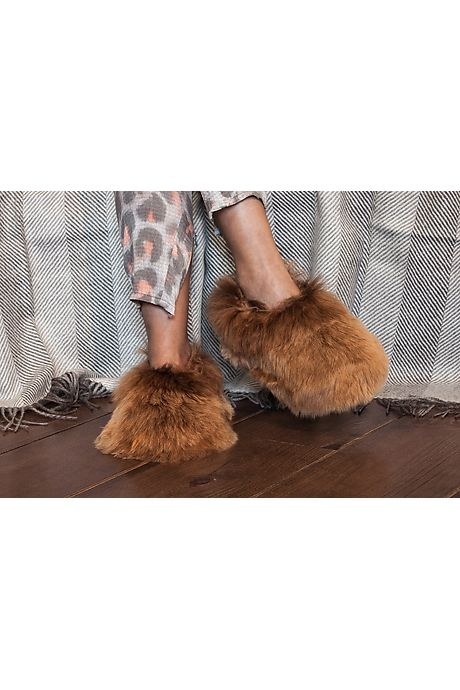 Pantoufles fourrure brune